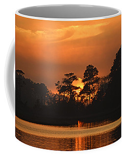 Coffee Mug featuring the photograph Sun Setting In Trees by Bill Swartwout