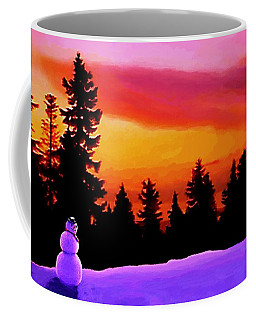 Sun Setting On Snow Coffee Mug