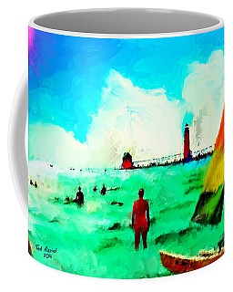 Coffee Mug featuring the painting Sunday At Grand Haven by Ted Azriel