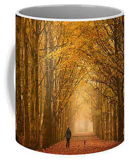Sunday Morning Walk With The Dog In A Foggy Forest In Autumn Coffee Mug