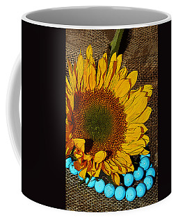 Sunflower Burlap And Turquoise Coffee Mug