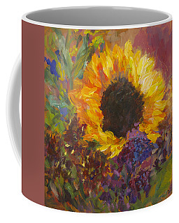 Sunflower Dance Original Painting Impressionist Coffee Mug by Quin Sweetman