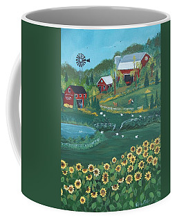Coffee Mug featuring the painting Sunflower Farm by Virginia Coyle