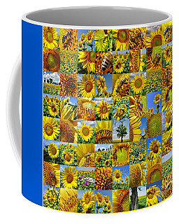 Sunflower Field Collage In Yellow Coffee Mug