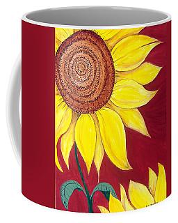 Sunflower On Red Coffee Mug