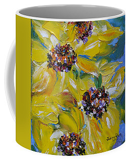 Coffee Mug featuring the painting Sunflower Quartet by Judith Rhue