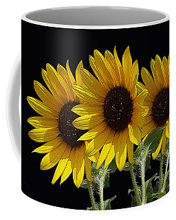 Sunflower Triplets Black Sky Coffee Mug