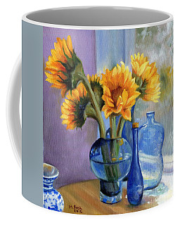Sunflowers And Blue Bottles Coffee Mug