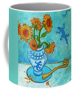 Coffee Mug featuring the painting Sunflowers And Lizards by Xueling Zou