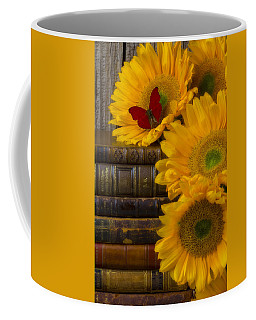 Sunflowers And Old Books Coffee Mug