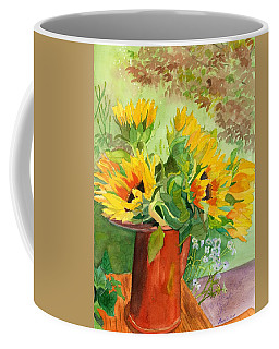 Coffee Mug featuring the painting Sunflowers In Copper by Lynne Reichhart