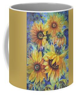 Sunflowers On Blue I Coffee Mug