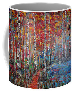 Sunlit Birch Pathway Coffee Mug