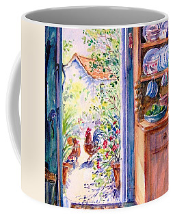 Coffee Mug featuring the painting Sunlit Cottage Doorway  by Trudi Doyle