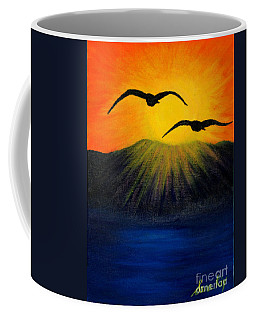 Sunrise And Two Seagulls Coffee Mug