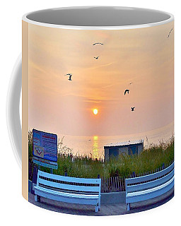 Sunrise At Rehoboth Beach Boardwalk Coffee Mug