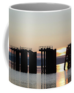 Coffee Mug featuring the photograph Southworth Ferry Pilling At Dawn by E Faithe Lester
