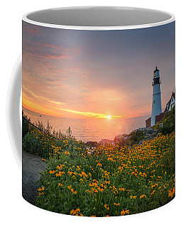 Sunrise Bliss At Portland Lighthouse Coffee Mug