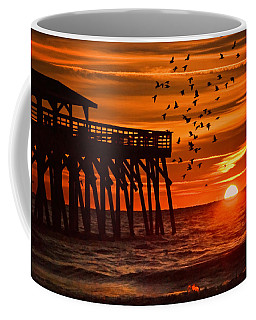Sunrise In Myrtle Beach With Birds Flying Around The Pier Coffee Mug