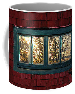Coffee Mug featuring the photograph Sunrise In Old Barn Window by Susan Capuano