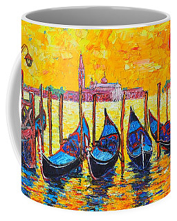 Sunrise In Venice Italy Gondolas And San Giorgio Maggiore Coffee Mug