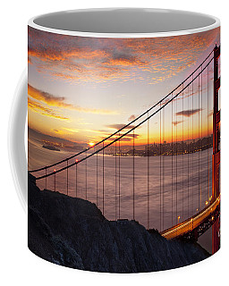 Coffee Mug featuring the photograph Sunrise Over The Golden Gate Bridge by Brian Jannsen