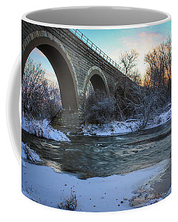 Coffee Mug featuring the photograph Sunrise Under The Bridge by Viviana  Nadowski