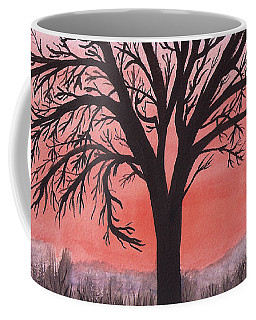 November Sunrise Walnut Tree Watercolor Coffee Mug