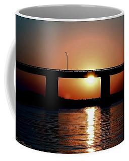 Sunset And Bridge Coffee Mug by Debra Forand
