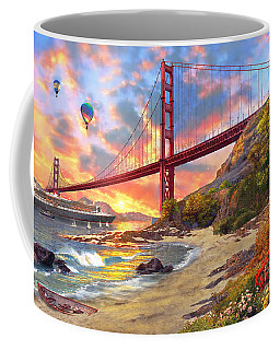 Sunset At Golden Gate Coffee Mug
