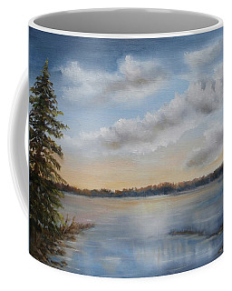 Coffee Mug featuring the painting Sunset At Sparta Lake New Jersey by Katalin Luczay
