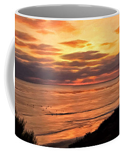 Coffee Mug featuring the painting Sunset At Swami's Encinitas by Michael Pickett