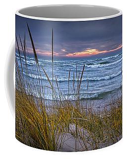 Sunset On The Beach At Lake Michigan With Dune Grass Coffee Mug