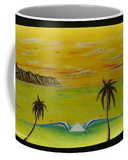 Sunset On A Surfboard Coffee Mug