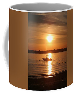 Coffee Mug featuring the photograph Sunset On Boat by Karen Silvestri