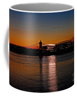 Coffee Mug featuring the photograph Sunset On Paul Brown Stadium by Mary Carol Story