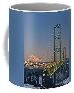 1a4y20-v-sunset On Rainier With The Tacoma Narrows Bridge Coffee Mug