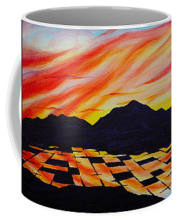 Coffee Mug featuring the painting Sunset On Rice Fields by Michele Myers