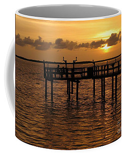 Sunset On The Dock Coffee Mug by Peggy Hughes