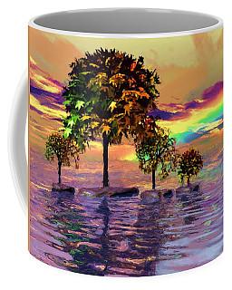 Sunset On Trees And Ocean Coffee Mug