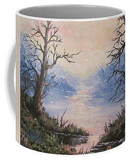 Coffee Mug featuring the painting Sunset On Water by Megan Walsh