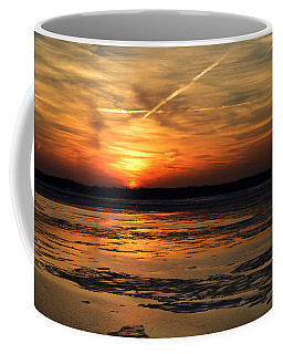 Coffee Mug featuring the photograph Sunset Over A Frozen Chesapeake Bay by Bill Swartwout