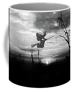 Sunset Over Cornfield With Silhouette Coffee Mug