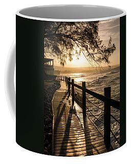 Sunset Over Ocean Walkway Coffee Mug