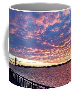Sunset Over Verrazano Bridge And Narrows Waterway Coffee Mug by John Telfer