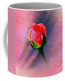 Coffee Mug featuring the photograph Sunset Rose Bud by Judy Palkimas