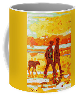 Sunset Silhouette Carmel Beach With Dog Coffee Mug