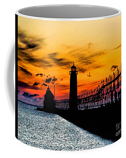 Sunset Walking On Grand Haven Pier Coffee Mug