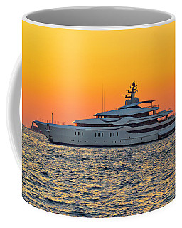 Superyacht On Yellow Sunset View Coffee Mug