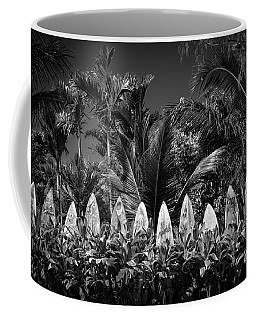 Coffee Mug featuring the photograph Surf Board Fence Maui Hawaii Black And White by Edward Fielding